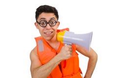 Śmieszny mężczyzna jest ubranym kamizelkę z głośnikiem Obraz Royalty Free