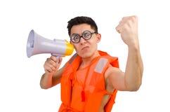 Śmieszny mężczyzna jest ubranym kamizelkę z głośnikiem Zdjęcia Stock