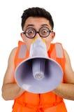 Śmieszny mężczyzna jest ubranym kamizelkę z głośnikiem Obraz Stock