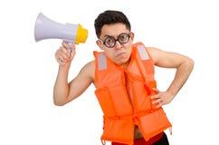 Śmieszny mężczyzna jest ubranym kamizelkę z głośnikiem Obrazy Royalty Free