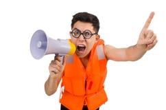 Śmieszny mężczyzna jest ubranym kamizelkę z głośnikiem Fotografia Stock