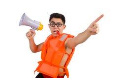 Śmieszny mężczyzna jest ubranym kamizelkę z głośnikiem Zdjęcie Royalty Free