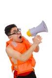 Śmieszny mężczyzna jest ubranym kamizelkę z głośnikiem Obrazy Stock