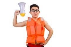 Śmieszny mężczyzna jest ubranym kamizelkę z głośnikiem Zdjęcie Stock