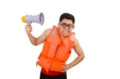 Śmieszny mężczyzna jest ubranym kamizelkę z głośnikiem Fotografia Royalty Free