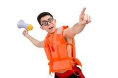 Śmieszny mężczyzna jest ubranym pomarańczową zbawczą kamizelkę Zdjęcia Stock