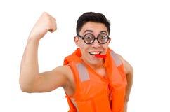 Śmieszny mężczyzna jest ubranym pomarańczową zbawczą kamizelkę Obraz Stock