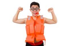 Śmieszny mężczyzna jest ubranym pomarańczową zbawczą kamizelkę Zdjęcie Royalty Free