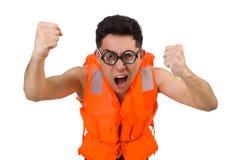 Śmieszny mężczyzna jest ubranym pomarańczową zbawczą kamizelkę Zdjęcia Royalty Free