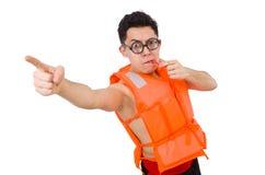 Śmieszny mężczyzna jest ubranym pomarańczową zbawczą kamizelkę Obrazy Royalty Free