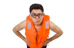 Śmieszny mężczyzna jest ubranym pomarańczową zbawczą kamizelkę Fotografia Stock