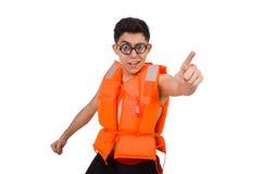 Śmieszny mężczyzna jest ubranym pomarańczową zbawczą kamizelkę Obrazy Stock
