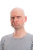 Śmieszny mężczyzna z łysą głową refacting Zdjęcia Royalty Free
