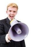 Śmieszny mężczyzna z głośnikiem Zdjęcie Royalty Free