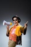 Śmieszny mężczyzna z głośnikiem Fotografia Royalty Free