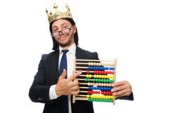 Śmieszny mężczyzna z kalkulatorem i abakusem zdjęcia stock
