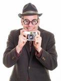 Śmieszny mężczyzna z kamerą bierze obrazek fotografia royalty free