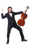 Śmieszny mężczyzna z muzycznym instrumentem Obrazy Stock