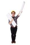 Śmieszny mężczyzna z projektami Zdjęcia Royalty Free