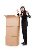 Śmieszny mężczyzna z pudełkami Zdjęcie Royalty Free