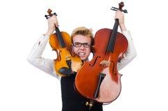 Śmieszny mężczyzna z skrzypce Fotografia Stock