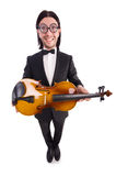 Śmieszny mężczyzna z skrzypce Obrazy Stock