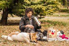 Śmieszny młody caucasian mężczyzna z afro fryzurą na pinkinie z jego psem Fotografia Stock