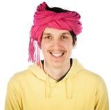 Śmieszny młody człowiek w turbanie zdjęcie royalty free