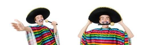Śmieszny młody meksykanin śpiewa odosobnionego na bielu fotografia stock