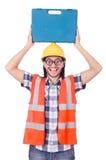 Śmieszny młody pracownik budowlany z toolbox Zdjęcie Stock