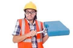 Śmieszny młody pracownik budowlany z toolbox i Obraz Royalty Free