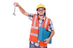 Śmieszny młody pracownik budowlany z toolbox i Zdjęcia Stock