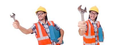 Śmieszny młody pracownik budowlany z toolbox i wyrwaniem odizolowywającymi Obrazy Stock