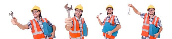Śmieszny młody pracownik budowlany z toolbox i wyrwaniem odizolowywającymi Zdjęcie Royalty Free