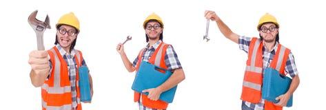 Śmieszny młody pracownik budowlany z toolbox i wyrwaniem odizolowywającymi Obrazy Royalty Free