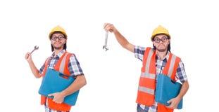 Śmieszny młody pracownik budowlany z toolbox i wyrwaniem odizolowywającymi Obraz Stock