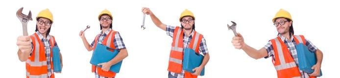 Śmieszny młody pracownik budowlany z toolbox i wyrwaniem odizolowywającymi Zdjęcie Stock