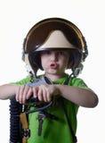 Śmieszny małe dziecko w myśliwskiego pilota hełmie odizolowywającym na białym tle Obraz Royalty Free