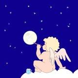 Śmieszny mały anioła ciosu bąbel jako księżyc Obrazy Stock