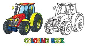 Śmieszny mały ciągnik z oczami książkowa kolorowa kolorystyki grafiki ilustracja ilustracja wektor