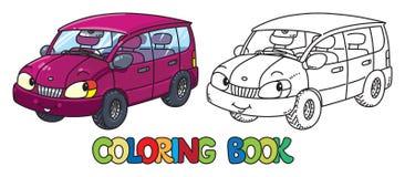 Śmieszny mały samochód z oczami książkowa kolorowa kolorystyki grafiki ilustracja ilustracja wektor
