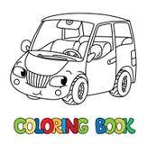 Śmieszny mały samochód z oczami książkowa kolorowa kolorystyki grafiki ilustracja royalty ilustracja