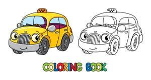 Śmieszny mały taxi samochód z oczami książkowa kolorowa kolorystyki grafiki ilustracja royalty ilustracja