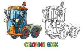 Śmieszny mały wymiatacza samochód z oczami książkowa kolorowa kolorystyki grafiki ilustracja ilustracja wektor