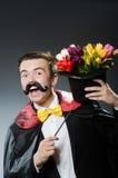 Śmieszny magik z różdżką Fotografia Royalty Free