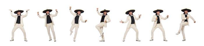 Śmieszny meksykanin w kostiumu i sombrero na bielu zdjęcia stock