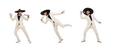 Śmieszny meksykanin w kostiumu mienia marakasach na bielu fotografia stock