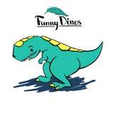 Śmieszny miły dziecka ` s kreskówki dinosaura tyrannosaurus royalty ilustracja