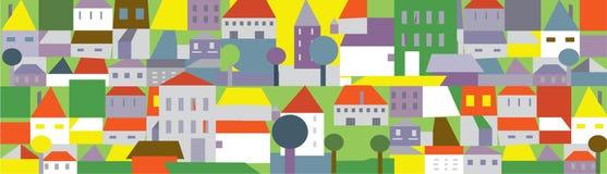 Śmieszny miasteczko w lecie - bezszwowy tło ilustracja wektor