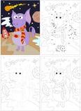 Śmieszny obcy i astronautyczna rakieta Kropka kropkować grę dla dzieciaków ilustracji